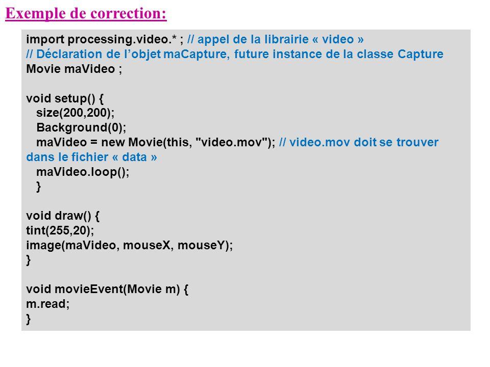 Exemple de correction: