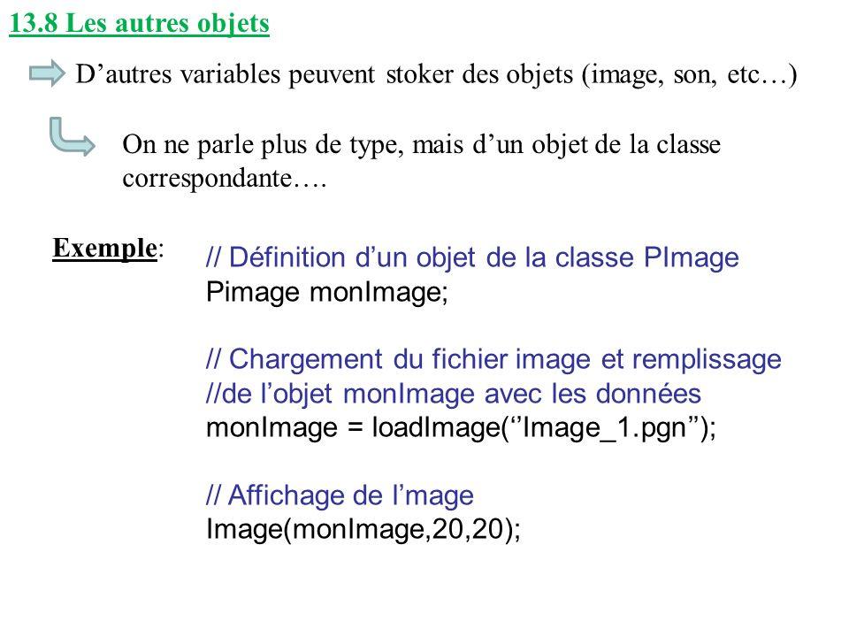 13.8 Les autres objets D'autres variables peuvent stoker des objets (image, son, etc…)