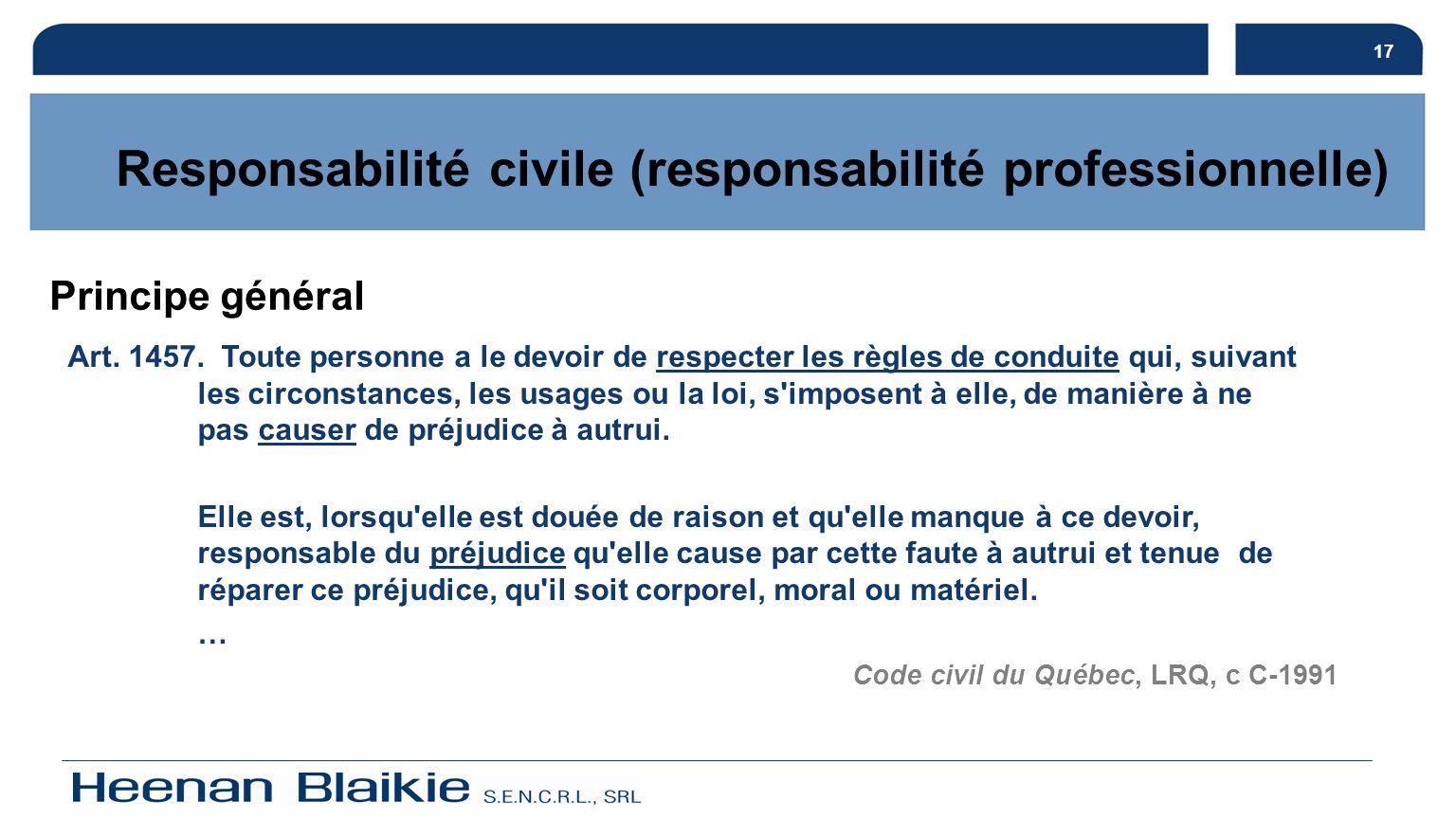 Responsabilité civile (responsabilité professionnelle)