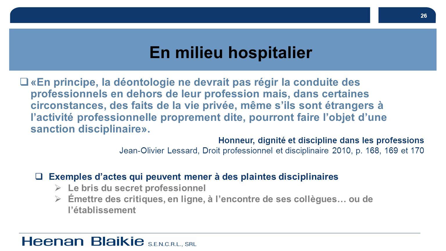 26 En milieu hospitalier.