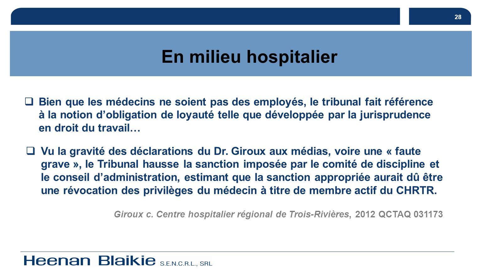 28 En milieu hospitalier.