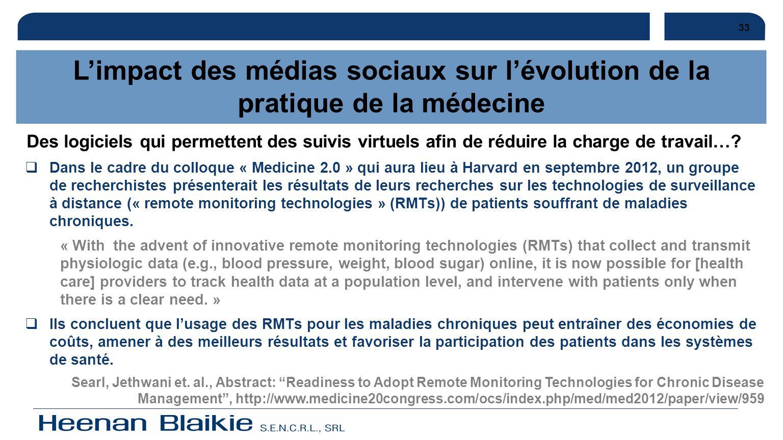 33L'impact des médias sociaux sur l'évolution de la pratique de la médecine.