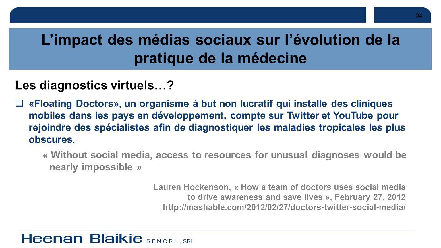 34 L'impact des médias sociaux sur l'évolution de la pratique de la médecine. Les diagnostics virtuels…