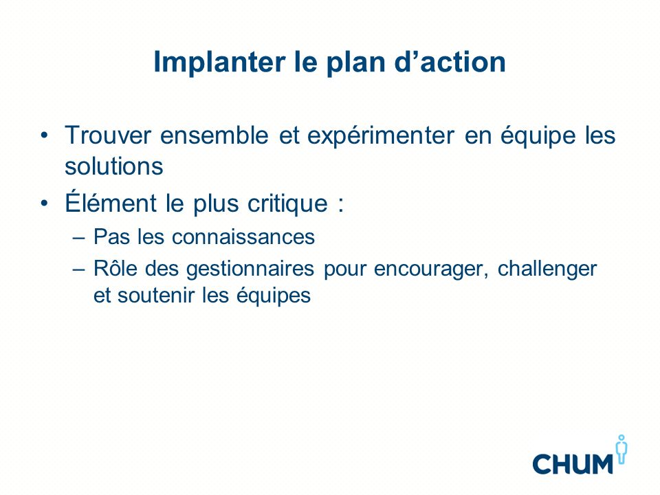 Implanter le plan d'action