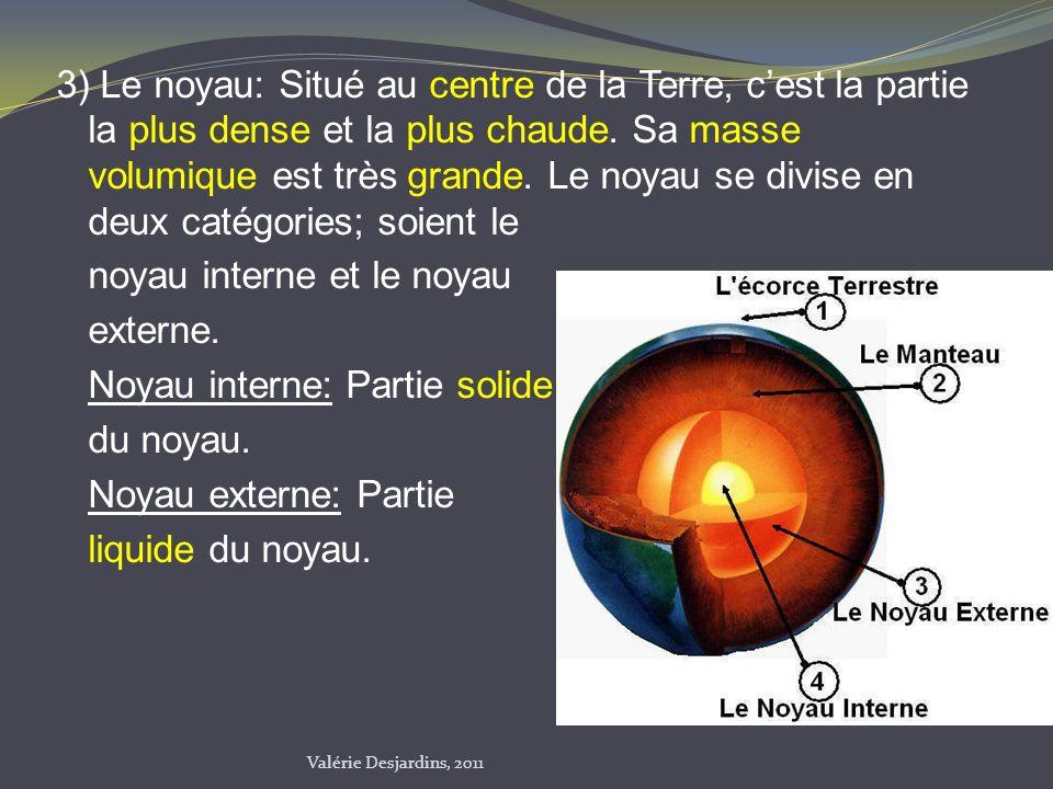 3) Le noyau: Situé au centre de la Terre, c'est la partie la plus dense et la plus chaude. Sa masse volumique est très grande. Le noyau se divise en deux catégories; soient le noyau interne et le noyau externe. Noyau interne: Partie solide du noyau. Noyau externe: Partie liquide du noyau.