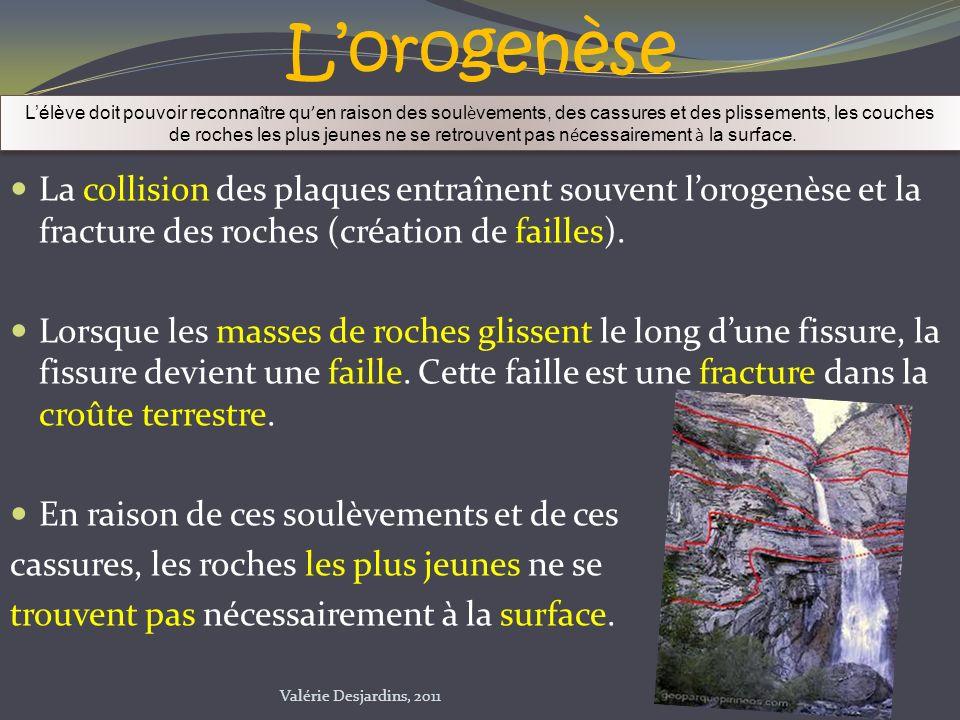 L'orogenèse L'élève doit pouvoir reconnaître qu'en raison des soulèvements, des cassures et des plissements, les couches.