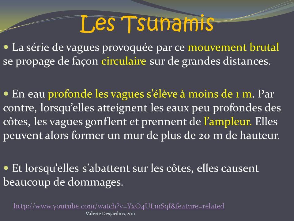 Les Tsunamis La série de vagues provoquée par ce mouvement brutal se propage de façon circulaire sur de grandes distances.