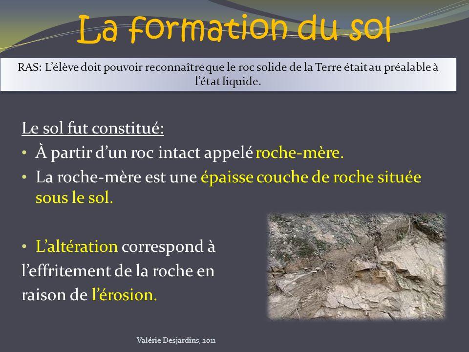 La formation du sol Le sol fut constitué: