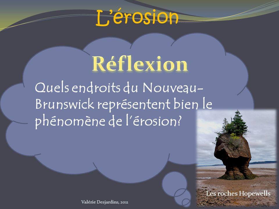 L'érosion Réflexion. Quels endroits du Nouveau-Brunswick représentent bien le phénomène de l'érosion