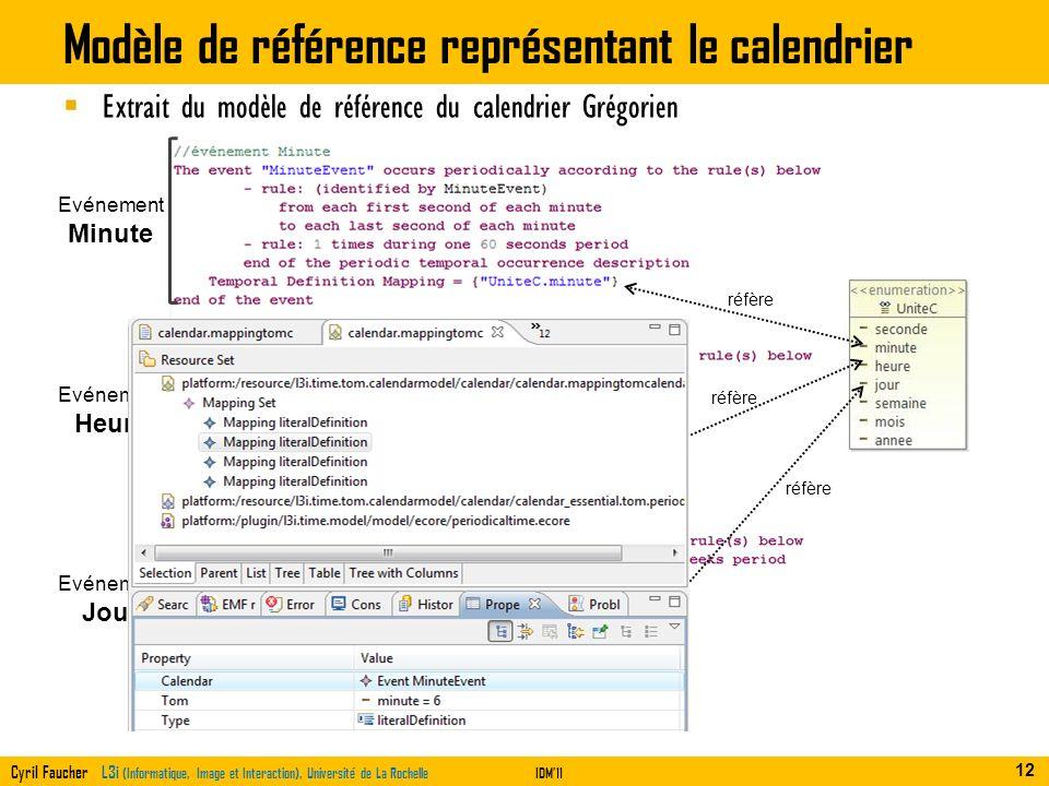 Modèle de référence représentant le calendrier
