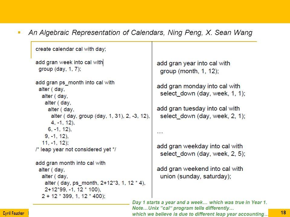 An Algebraic Representation of Calendars, Ning Peng, X. Sean Wang