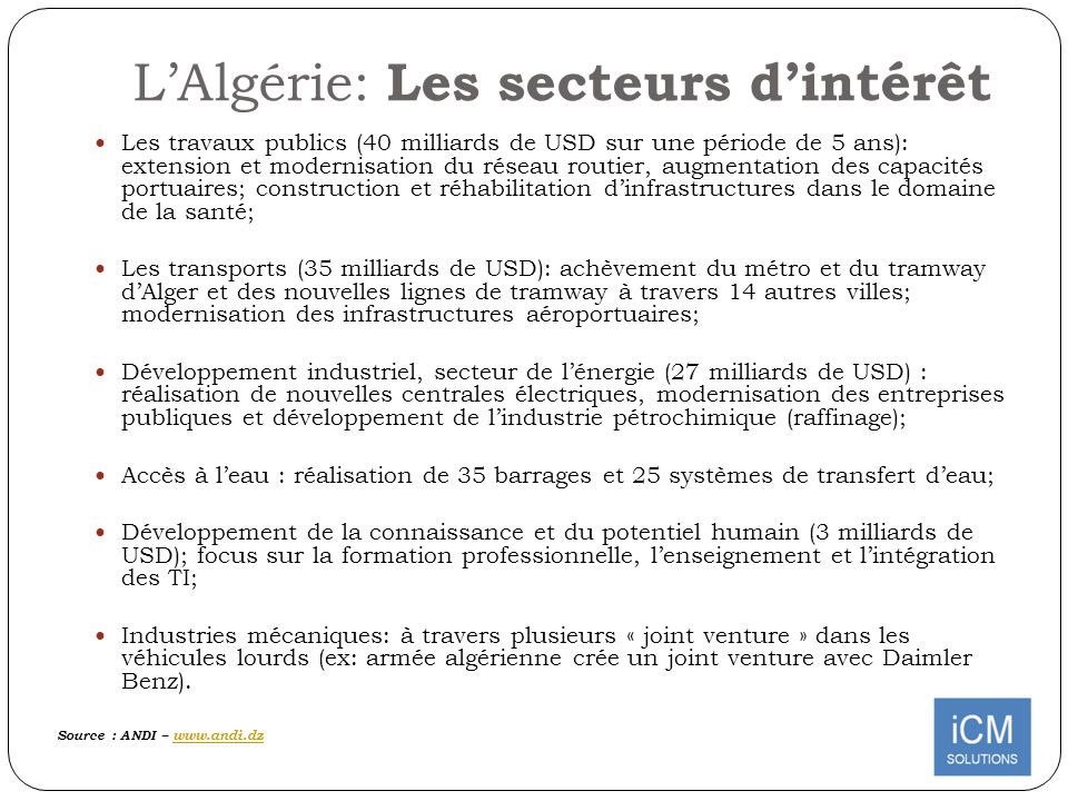 L'Algérie: Les secteurs d'intérêt