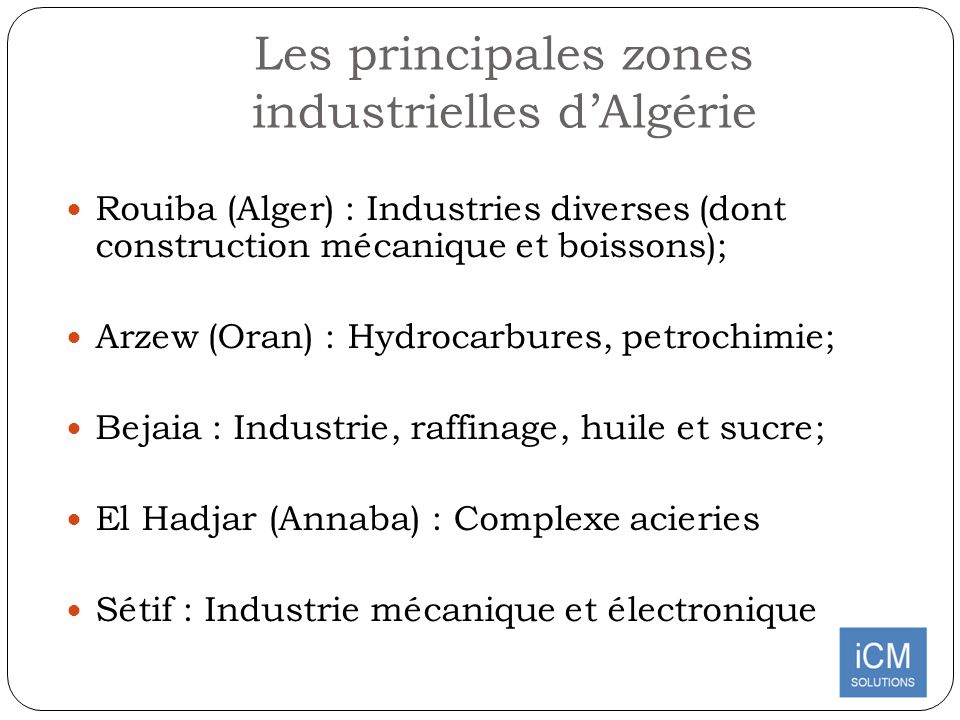 Les principales zones industrielles d'Algérie