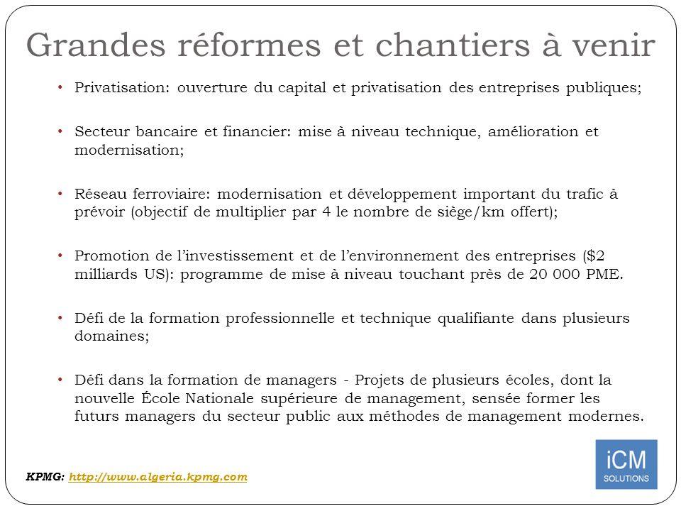 Grandes réformes et chantiers à venir