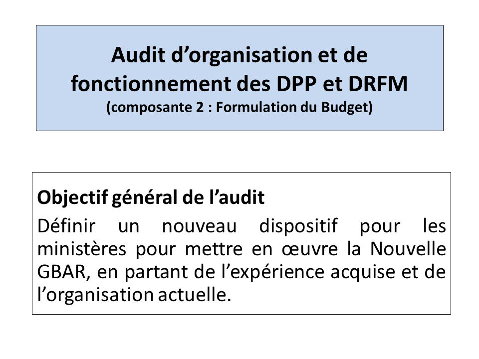 Audit d'organisation et de fonctionnement des DPP et DRFM (composante 2 : Formulation du Budget)