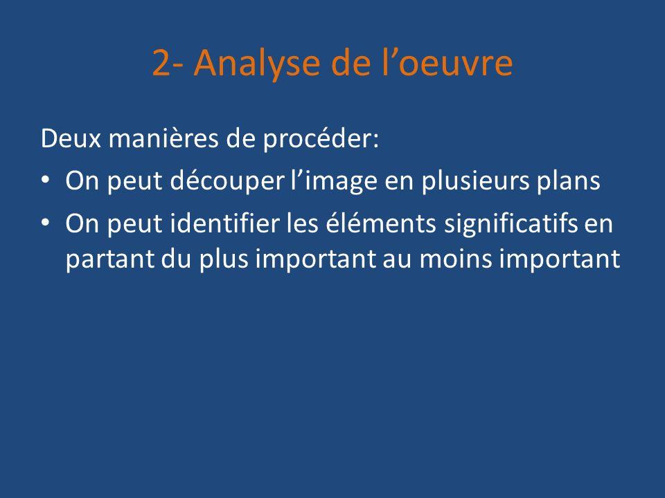 2- Analyse de l'oeuvre Deux manières de procéder: