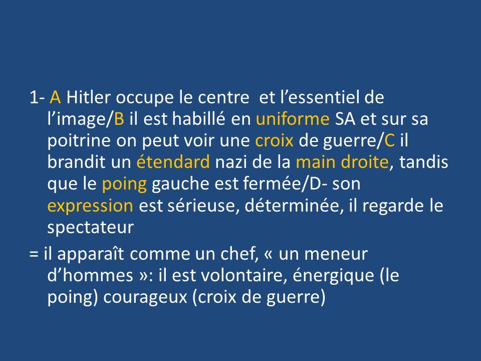 1- A Hitler occupe le centre et l'essentiel de l'image/B il est habillé en uniforme SA et sur sa poitrine on peut voir une croix de guerre/C il brandit un étendard nazi de la main droite, tandis que le poing gauche est fermée/D- son expression est sérieuse, déterminée, il regarde le spectateur = il apparaît comme un chef, « un meneur d'hommes »: il est volontaire, énergique (le poing) courageux (croix de guerre)