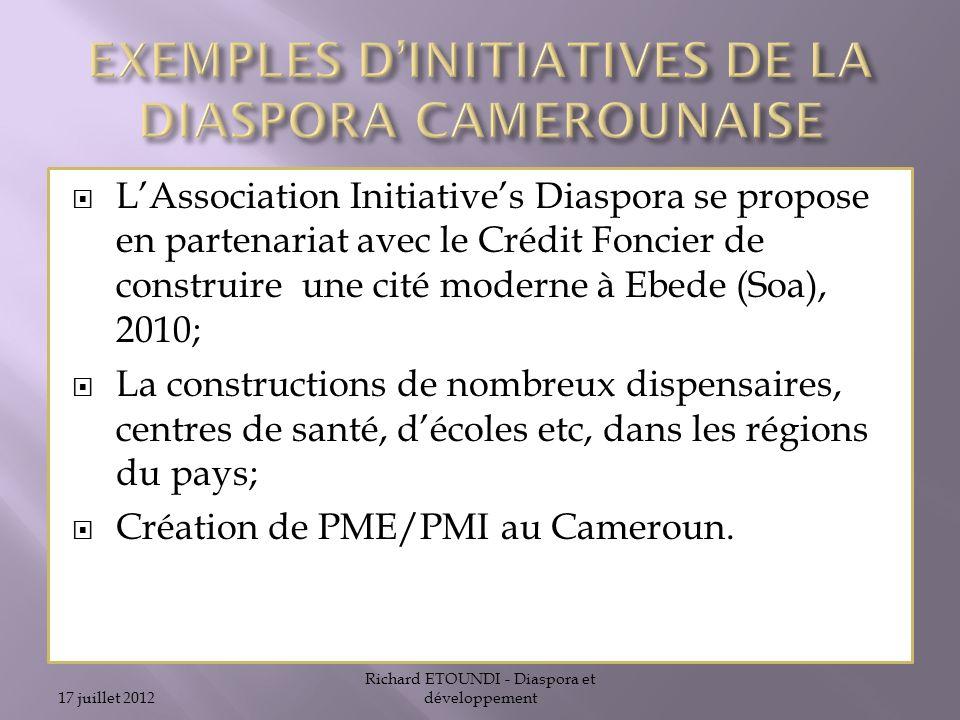 EXEMPLES D'INITIATIVES DE LA DIASPORA CAMEROUNAISE