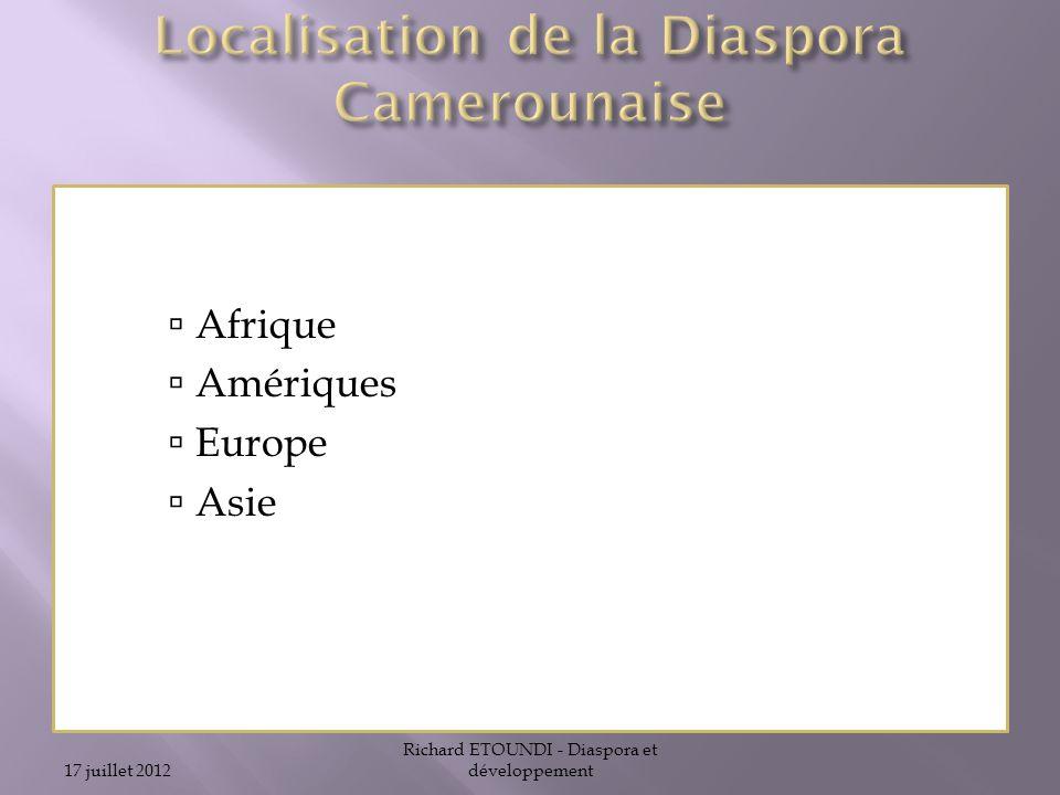 Localisation de la Diaspora Camerounaise