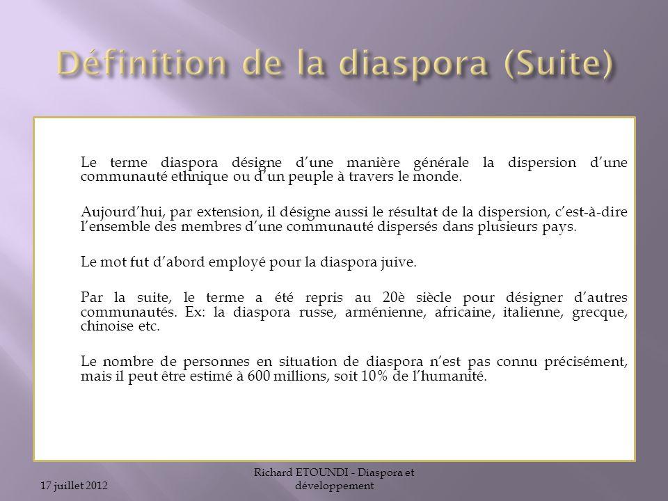 Définition de la diaspora (Suite)