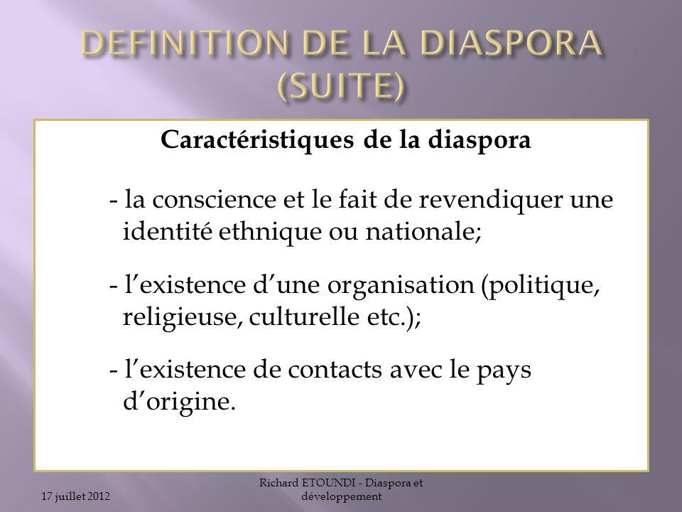 DEFINITION DE LA DIASPORA (SUITE)