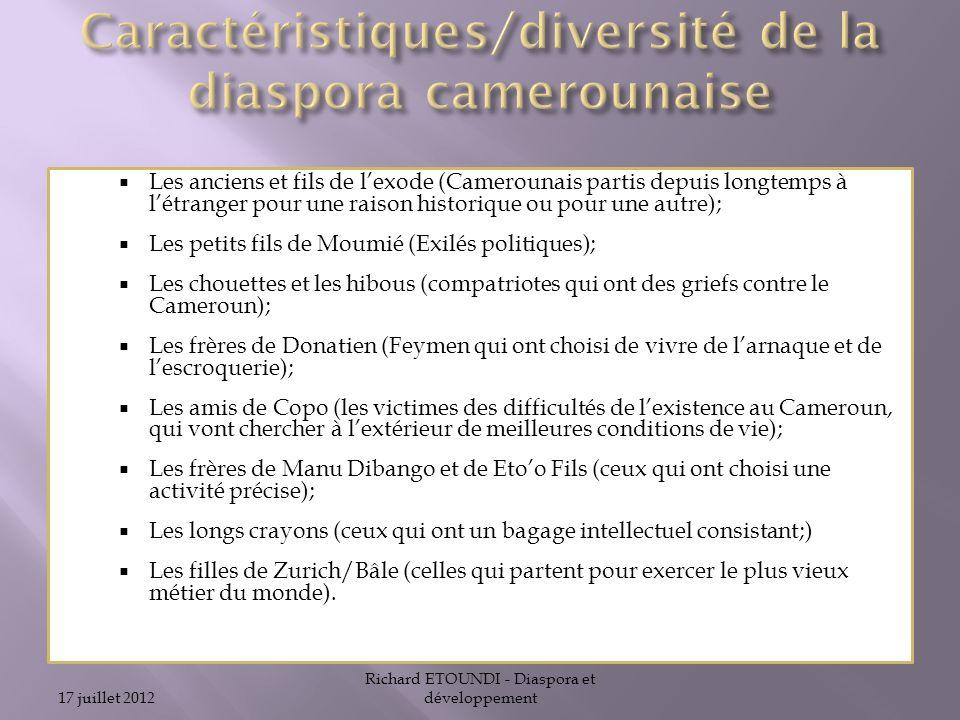 Caractéristiques/diversité de la diaspora camerounaise