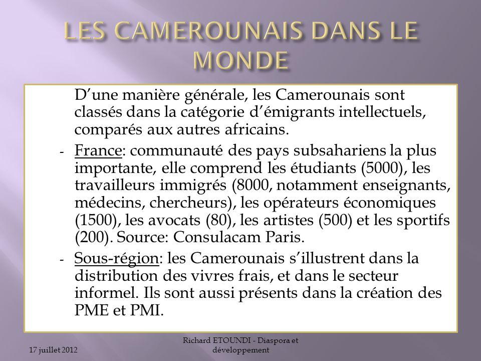 LES CAMEROUNAIS DANS LE MONDE
