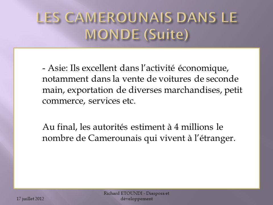 LES CAMEROUNAIS DANS LE MONDE (Suite)