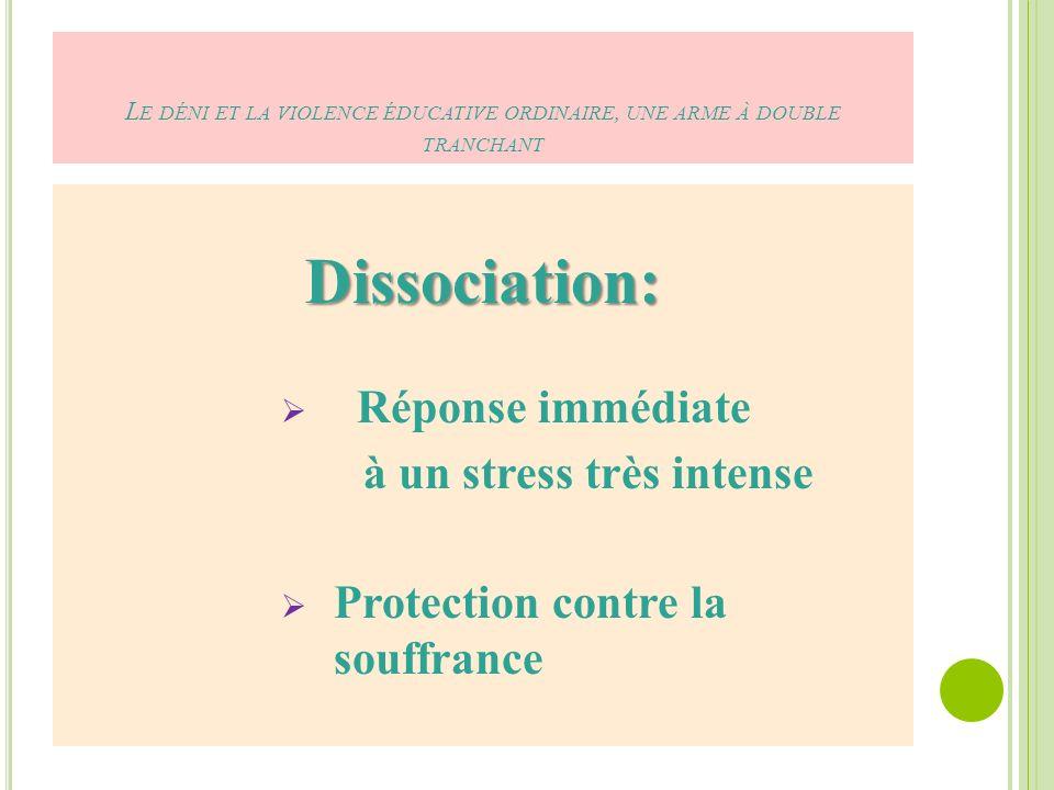 Dissociation: Réponse immédiate à un stress très intense