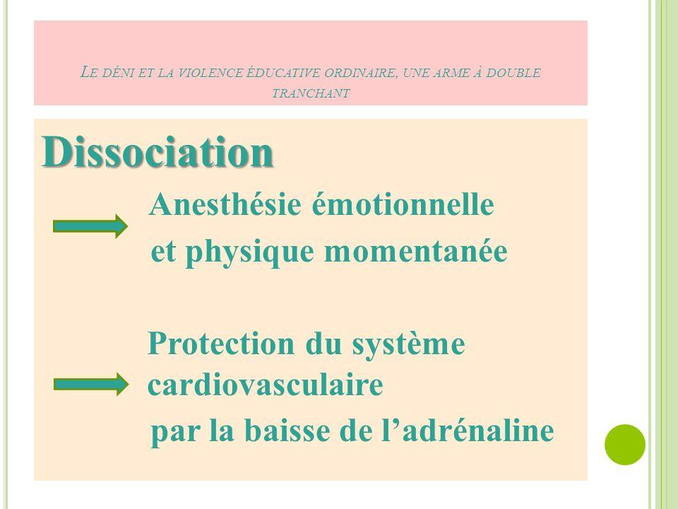 Dissociation Anesthésie émotionnelle et physique momentanée