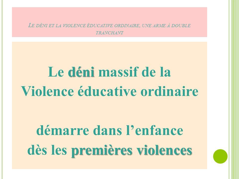 Le déni et la violence éducative ordinaire, une arme à double tranchant