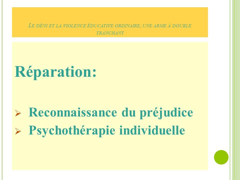 Réparation: Reconnaissance du préjudice Psychothérapie individuelle