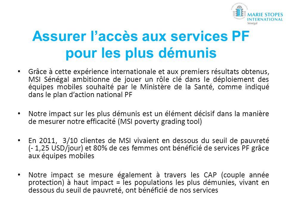 Assurer l'accès aux services PF pour les plus démunis