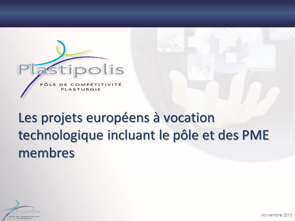 Les projets européens à vocation technologique incluant le pôle et des PME membres