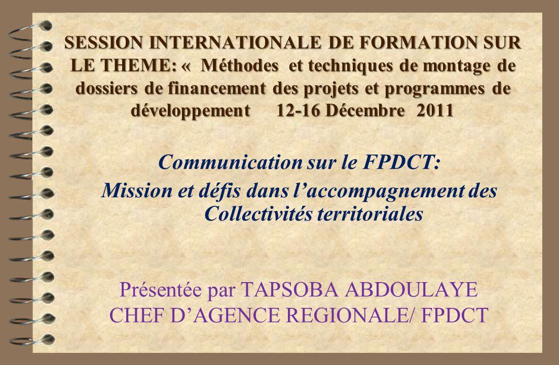Communication sur le FPDCT: