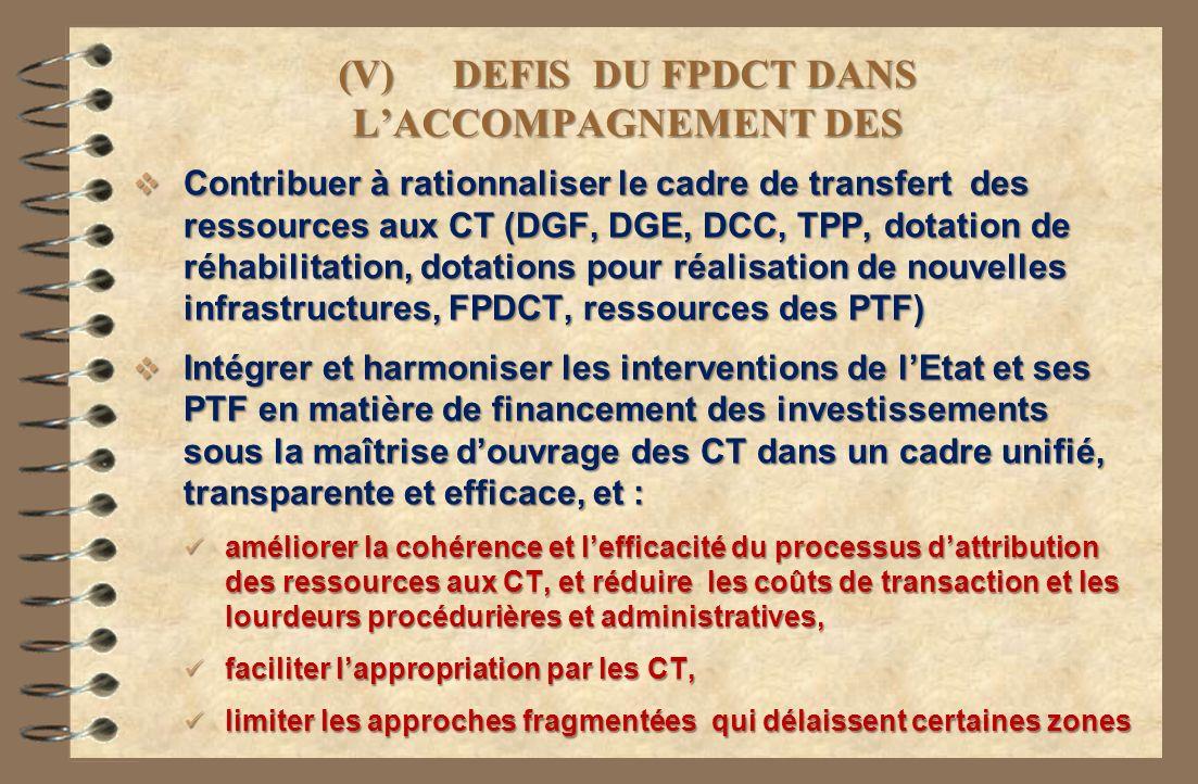 (V) DEFIS DU FPDCT DANS L'ACCOMPAGNEMENT DES