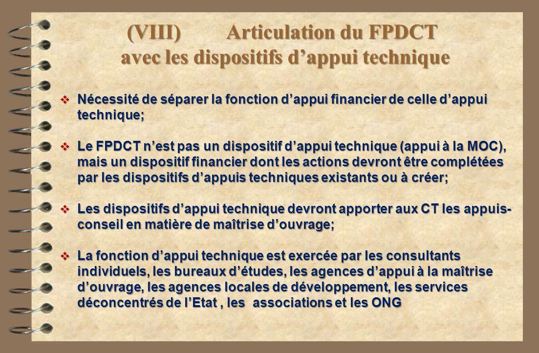 (VIII) Articulation du FPDCT avec les dispositifs d'appui technique