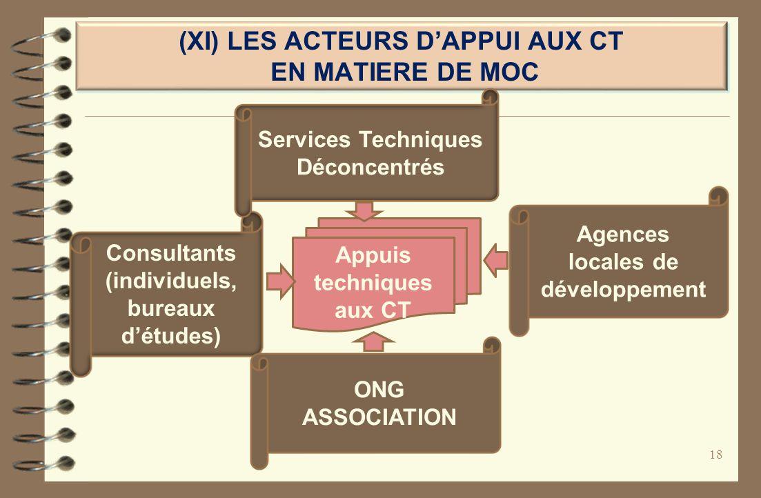 (XI) LES ACTEURS D'APPUI AUX CT EN MATIERE DE MOC
