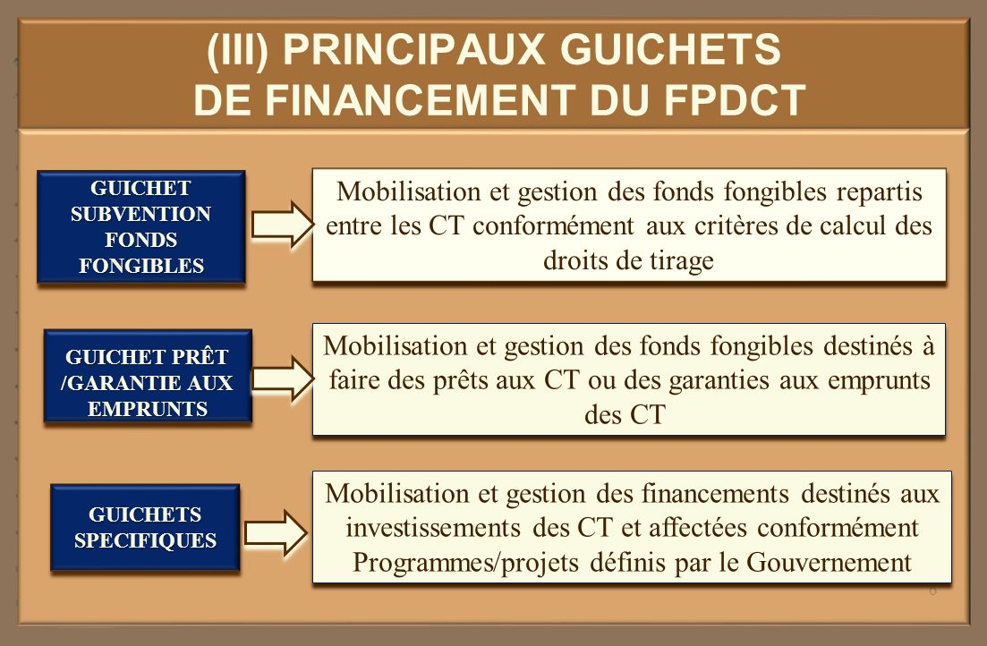 (III) PRINCIPAUX GUICHETS DE FINANCEMENT DU FPDCT