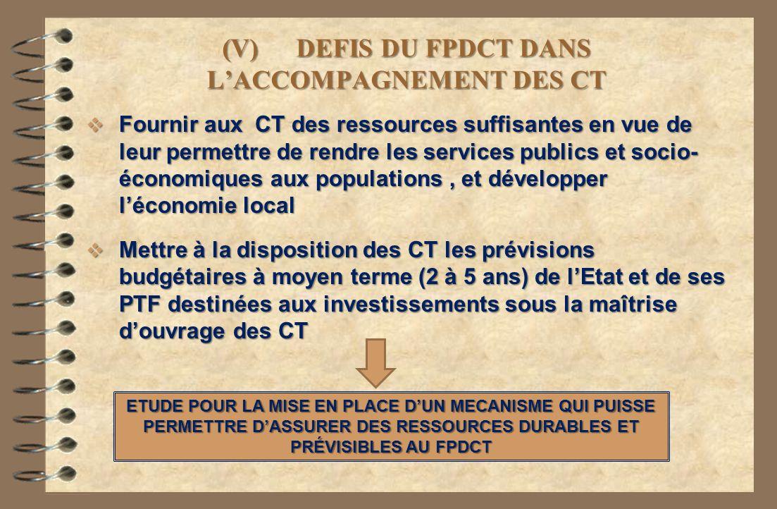 (V) DEFIS DU FPDCT DANS L'ACCOMPAGNEMENT DES CT