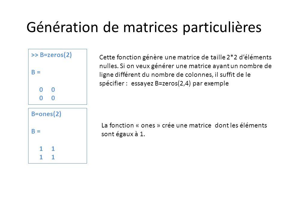 Génération de matrices particulières