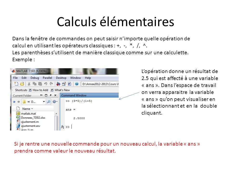 Calculs élémentaires