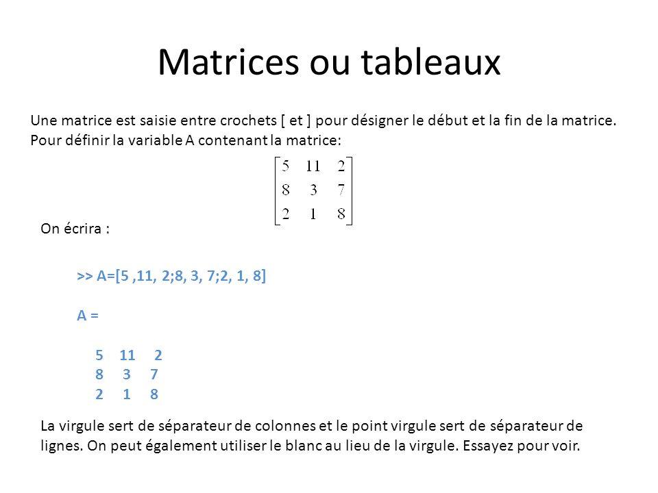 Matrices ou tableaux