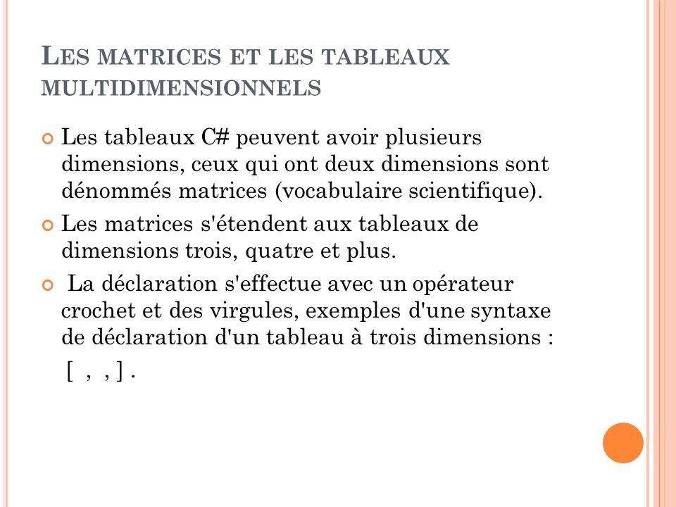 Les matrices et les tableaux multidimensionnels