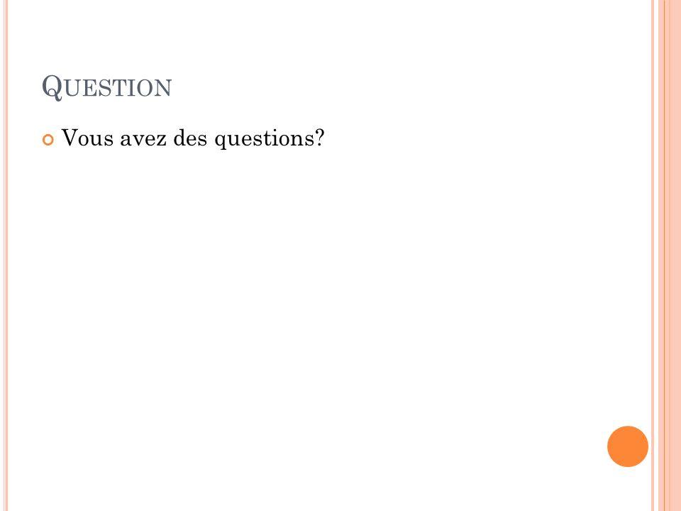 Question Vous avez des questions