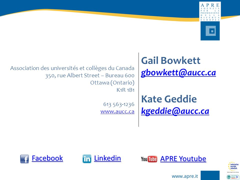 Gail Bowkett Kate Geddie gbowkett@aucc.ca kgeddie@aucc.ca Facebook