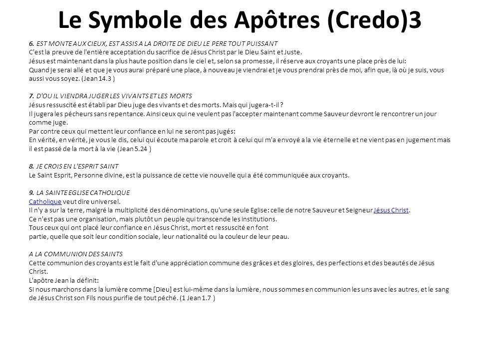 Le Symbole des Apôtres (Credo)3