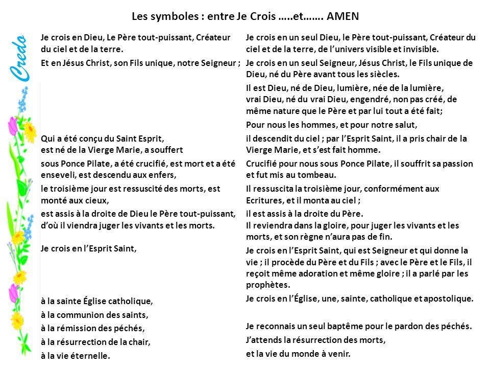 Credo Les symboles : entre Je Crois …..et……. AMEN