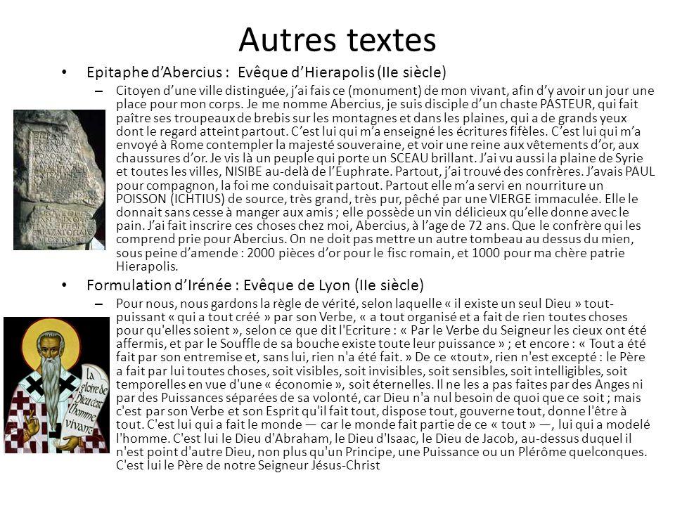 Autres textes Epitaphe d'Abercius : Evêque d'Hierapolis (IIe siècle)