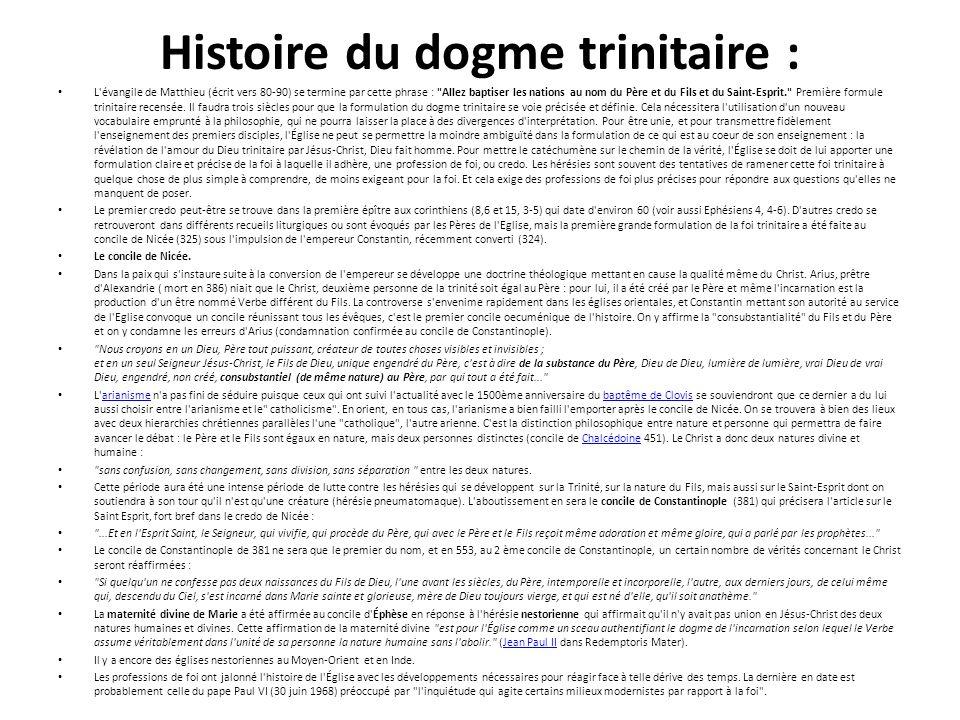 Histoire du dogme trinitaire :